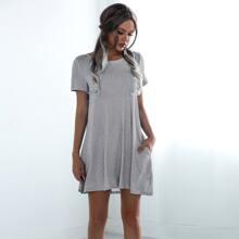 Dual Pocket Solid Tee Dress