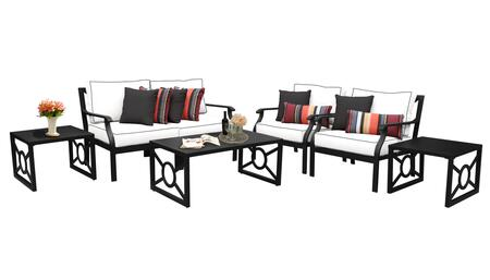 MADISON-07d-SNOW Kathy Ireland Homes and Gardens Madison Ave. 7 Piece Aluminum Patio Set 07d with 2 Sets of Snow