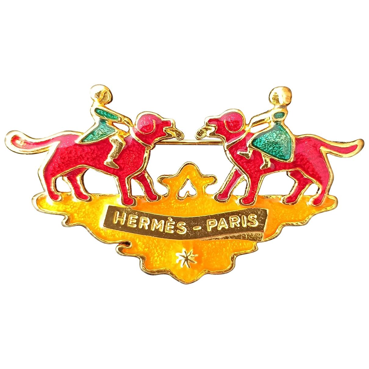 Hermes - Broche   pour femme en metal - dore