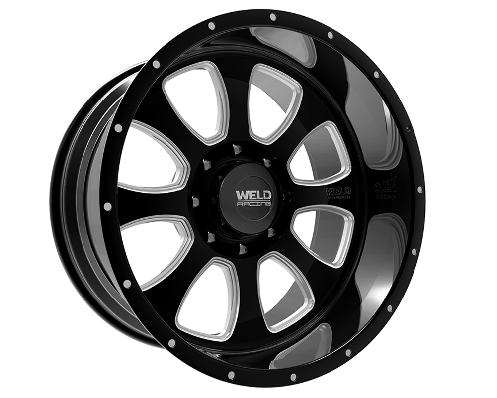 Weld Racing 82B2-24457-769N XT Renegade 24x14 5x150 -76mm Black Gloss & Contrast Cut Lip w/Rivets & Text