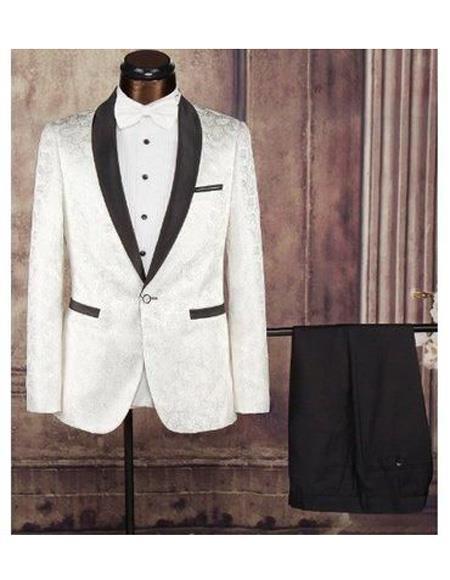 Men's Cream Single Breasted Shawl Lapel One Button Fabric Tuxedo