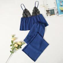 Cami Schlafanzug Set mit Kontrast Spitzen