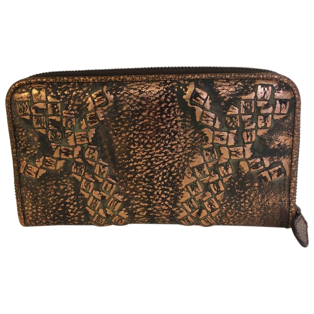 Bottega Veneta \N Portemonnaie in  Gold Leder
