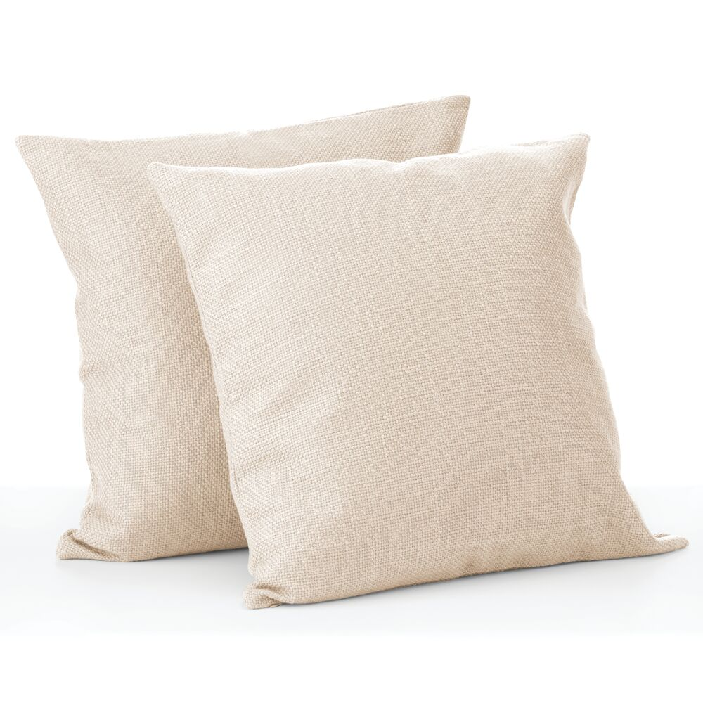 mDesign Decorative Faux Linen Pillow Case Cover, Pack of in Beige
