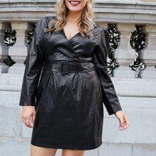 PU Leder Kleid mit Puffaermeln und Guertel