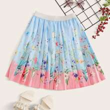 Girls Colorblock Floral Print Pleated Skirt