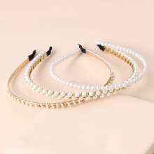 3 piezas aro de pelo con perla artificial