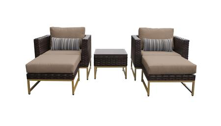 Barcelona BARCELONA-05b-GLD-WHEAT 5-Piece  Patio Set 05b with 2 Club Chairs  1 End Table and 2 Ottomans - Beige and Wheat Covers with Gold