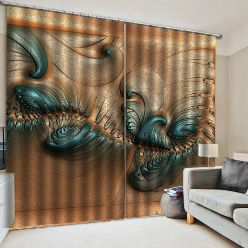 3D Room Darkening Blackout and Decorative Curtains Thick Shading Polyester No Pilling No Fading No off-lining Polyester Blend Super Heavy and Soft Han