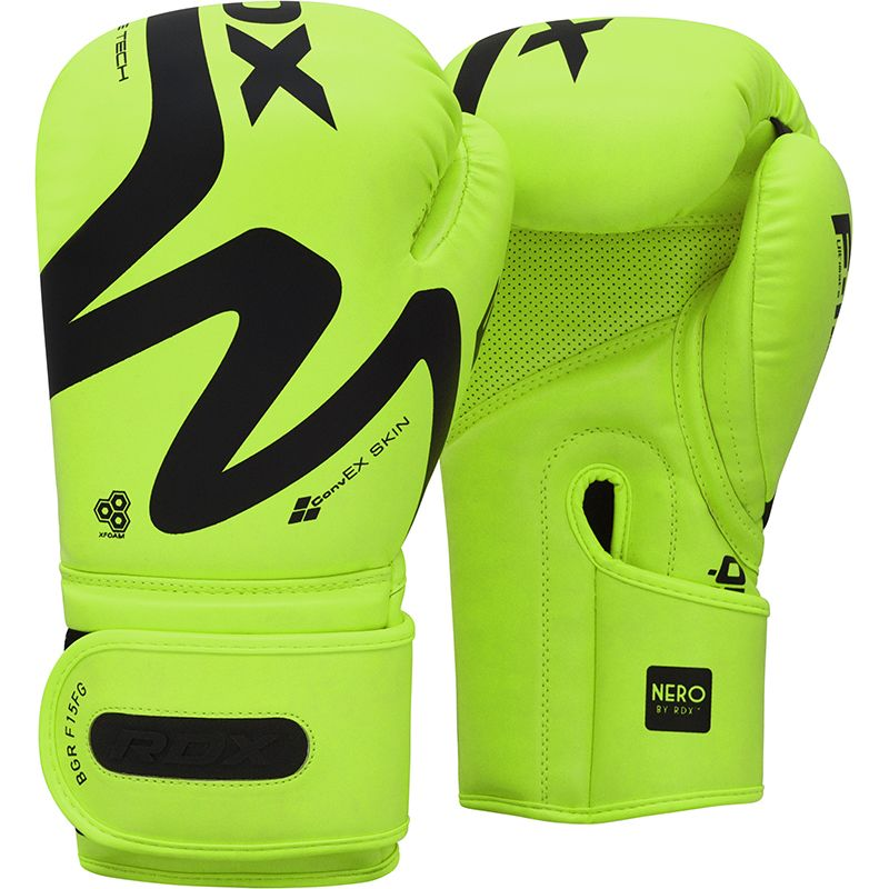 RDX F15 Green 12oz Boxing Training Gloves Hook and Loop Men and Women Punching Muay Thai Kickboxing