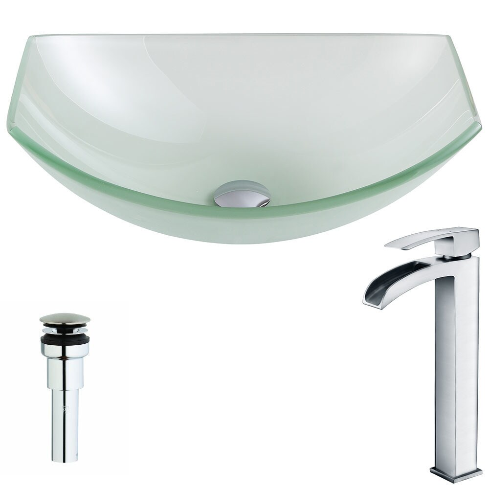 ANZZI Pendant Series Lustrous Frosted Deco-Glass Vessel Sink with Key Polished Chrome Faucet (Lustrous Frosted Finish)