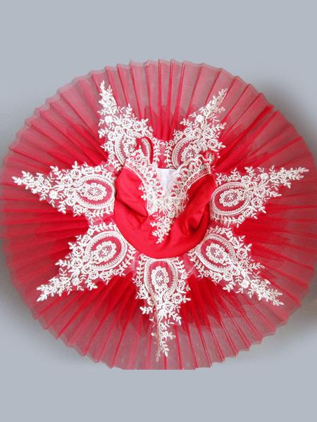 Milanoo Ballet Dress Lace Pleated Ballerina Dresses Red Ballet Dance Costumes