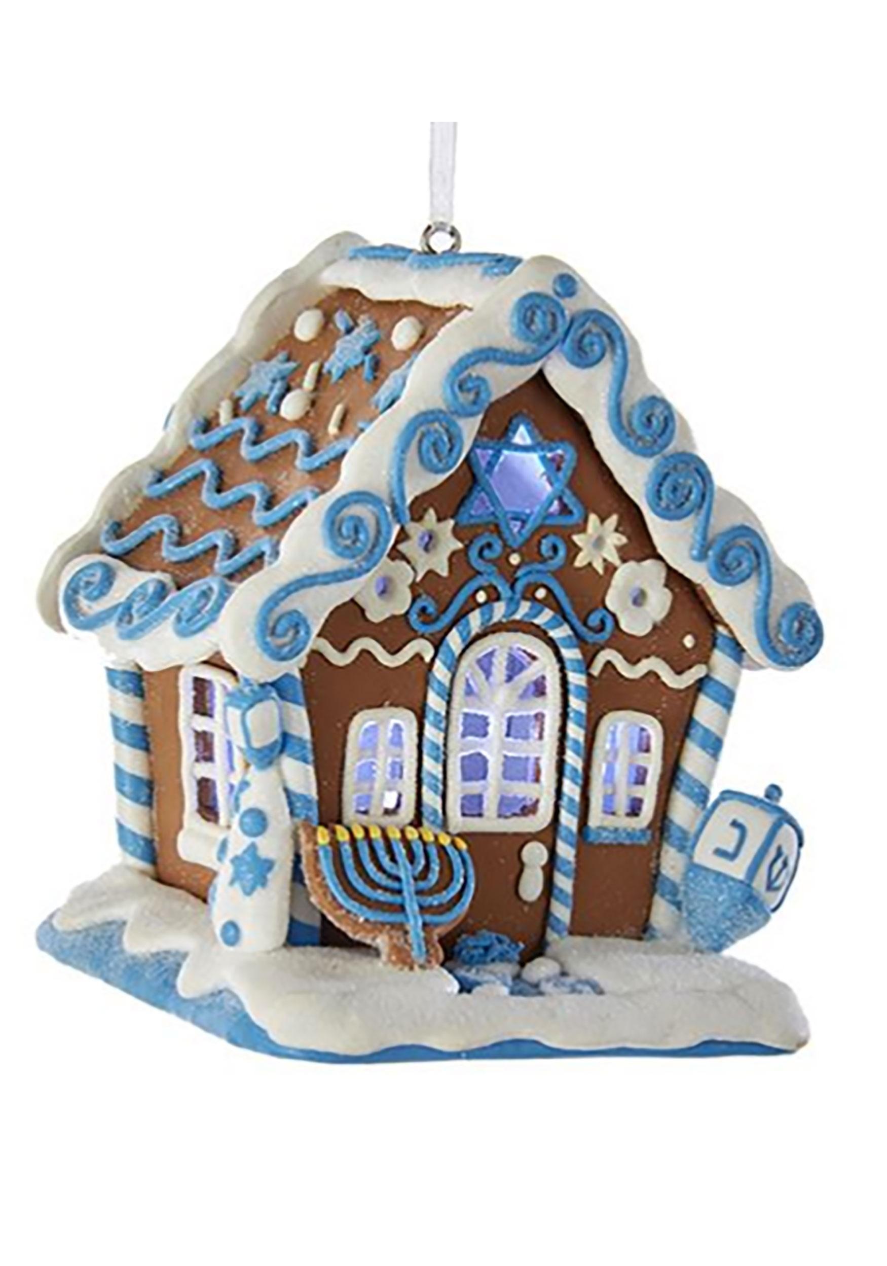 LED Hanukkah Gingerbread House Ornament