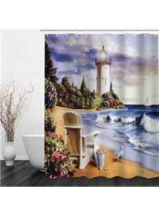 Oil Painting Seaside Castle 3D Printed Bathroom Waterproof Shower Curtain
