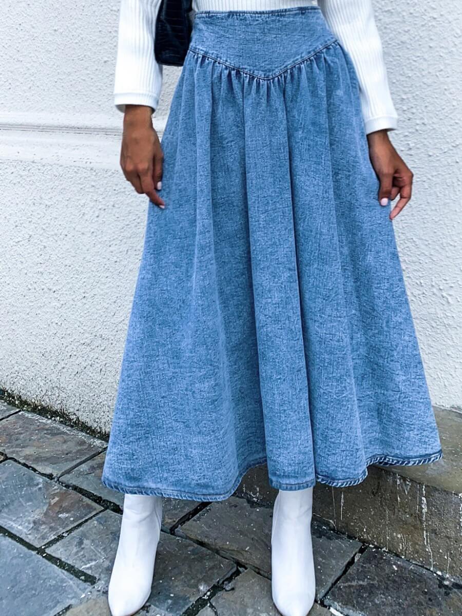 LW Lovely Trendy Fold Design Blue Denim Skirt