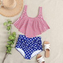 Star & Striped Print Handkerchief Bikini Swimsuit