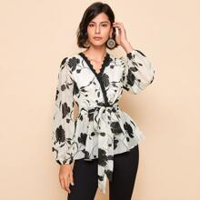 Lace Trim Floral Print Belted Top