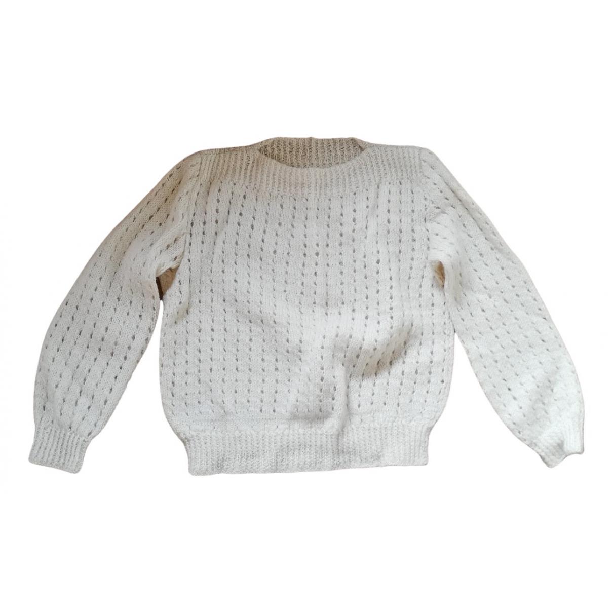- Pull Manche ballon pour femme en laine - blanc