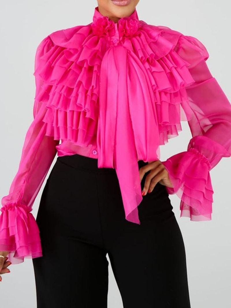 Ericdress Plain Falbala Standard Women's Blouse