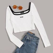 Contrast Trim Embroidered Letter Rib-knit Top