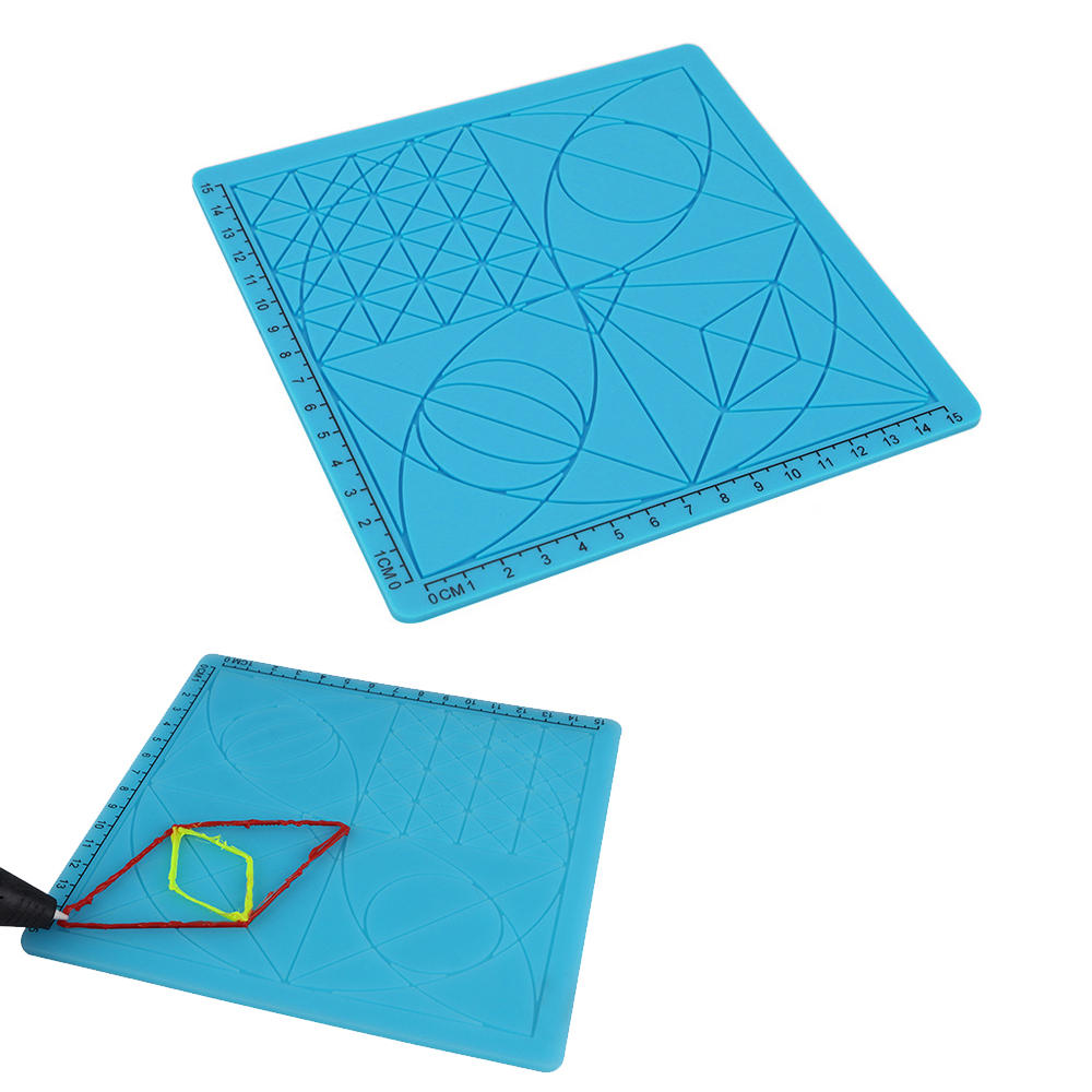 C-Type Blue 3D Printing Pen Drawing Tools Silicone Design Mat with Basic Template + 2pcs Insulation Silicone Finger Caps