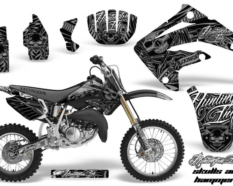AMR Racing Graphics MX-NP-HON-CR85-03-07-HISH S Kit MX Decal Wrap + # Plates For Honda CR85 CR 85 2003-2007 HISH SILVER