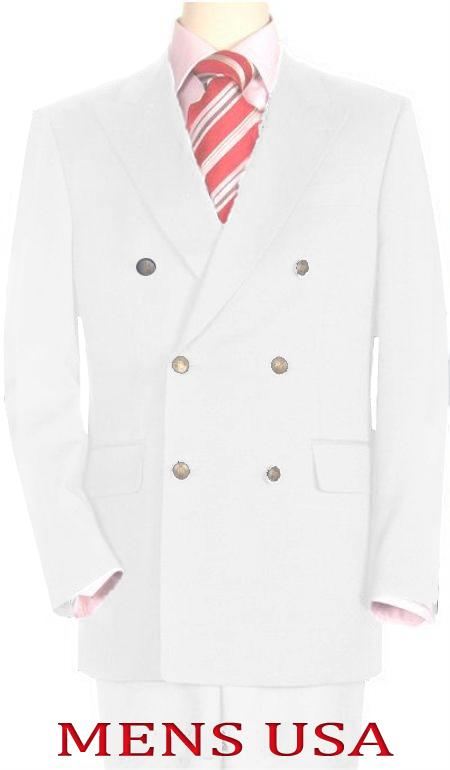 High Quality White Double Breasted Blazer with Peak Lapels