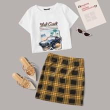 Letter Graphic Top & Plaid Skirt Set