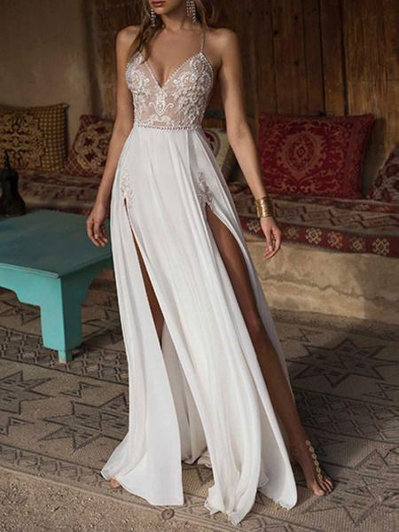 Milanoo Boho Wedding Dresses 2020 lace v neck Sleeveless Beaded Backless double splits Chiffon Beach Bridal Gowns