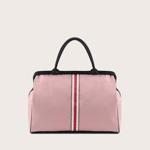 Striped Graphic Colorblock Shoulder Bag