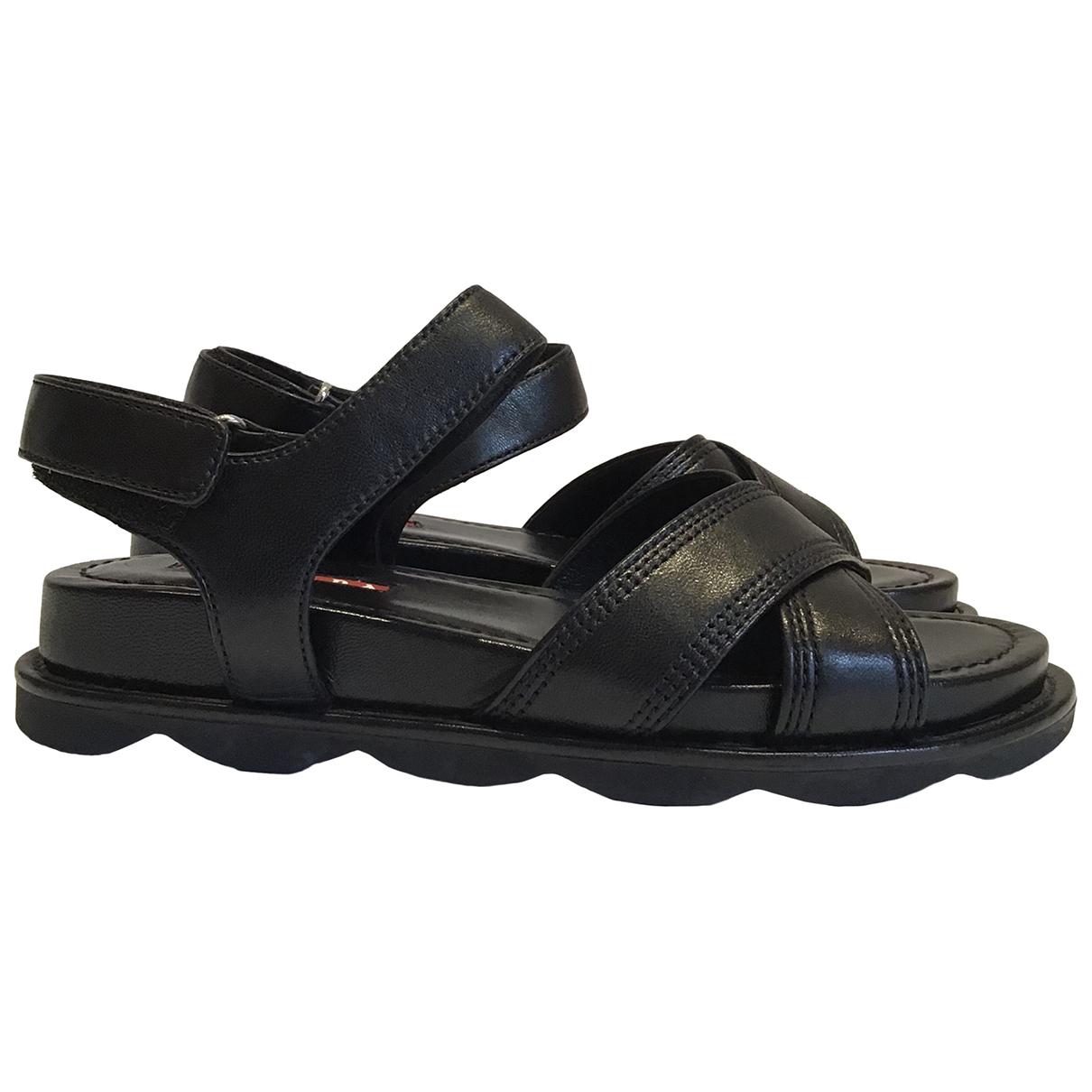 Prada N Black Leather Sandals for Women 36 EU
