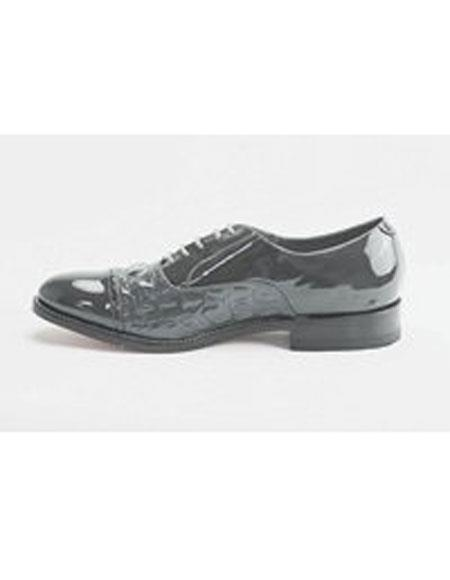 Mens Cushion Insole Horn Back Leather Sole Grey Shoes