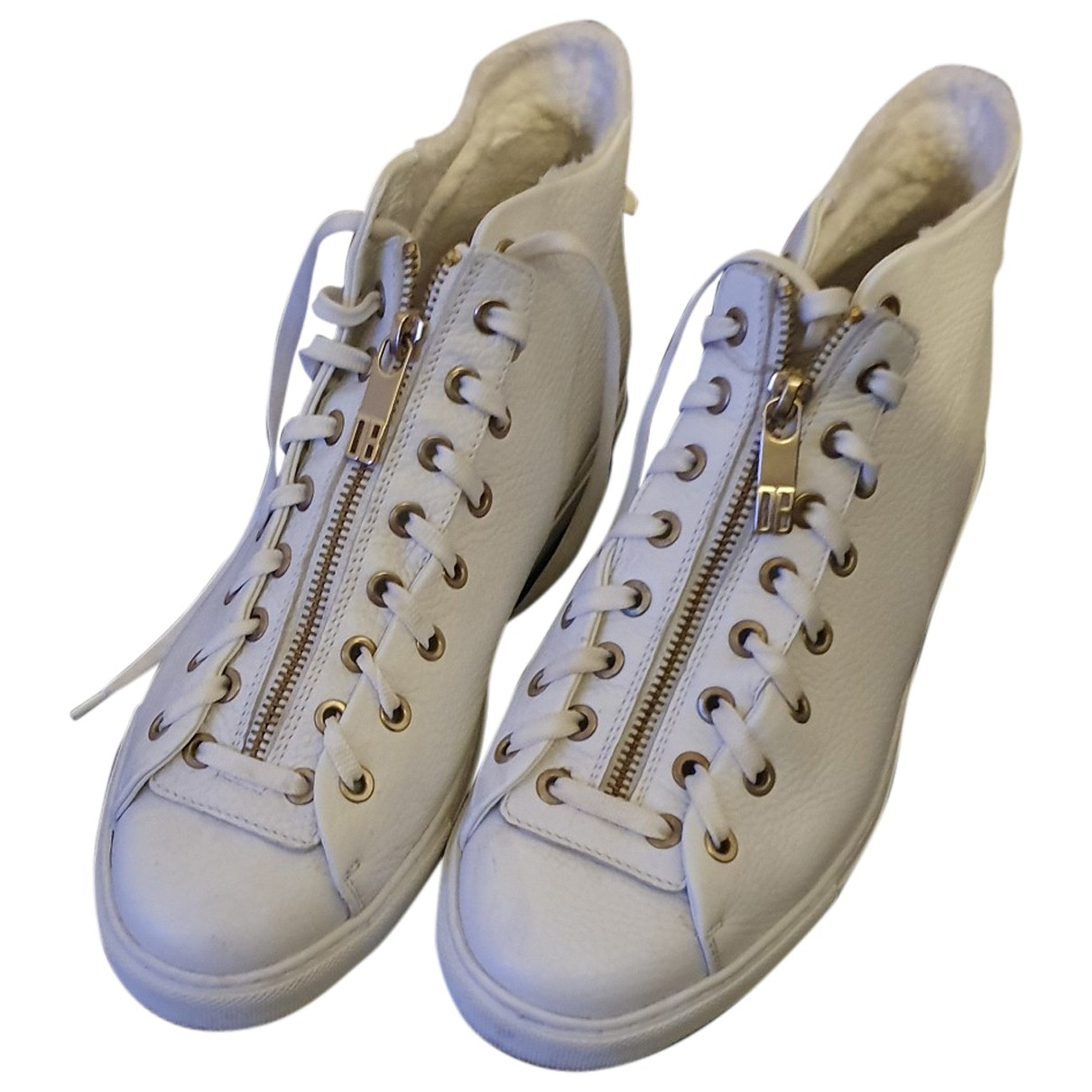 Dirk Bikkembergs \N White Leather Trainers for Women 41 EU