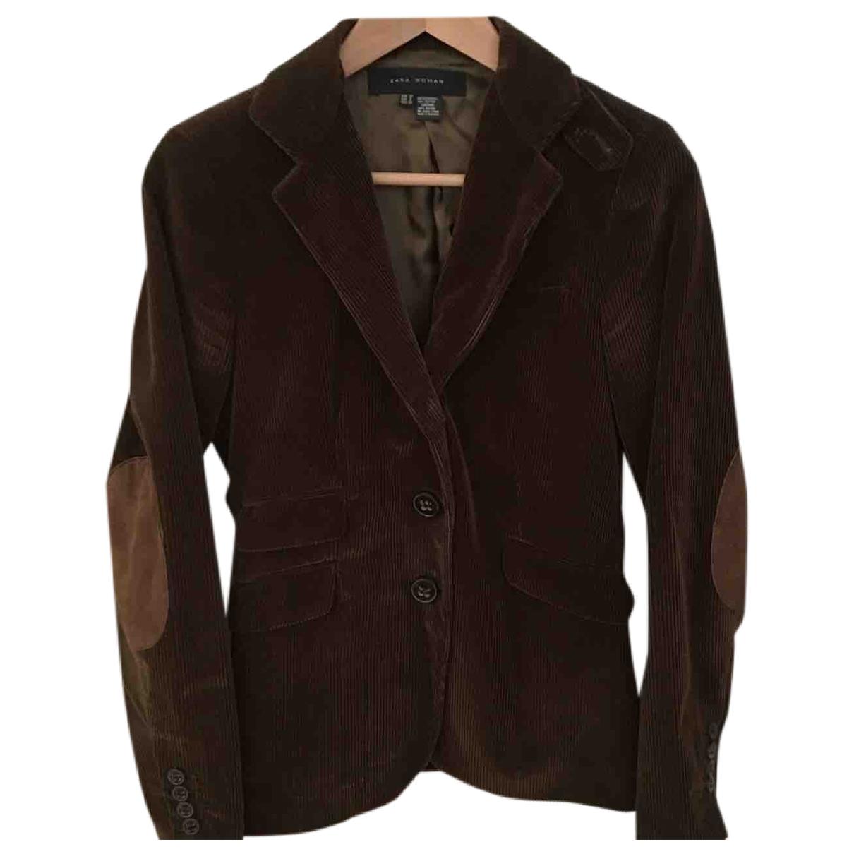 Zara \N Brown Velvet jacket for Women 42 IT