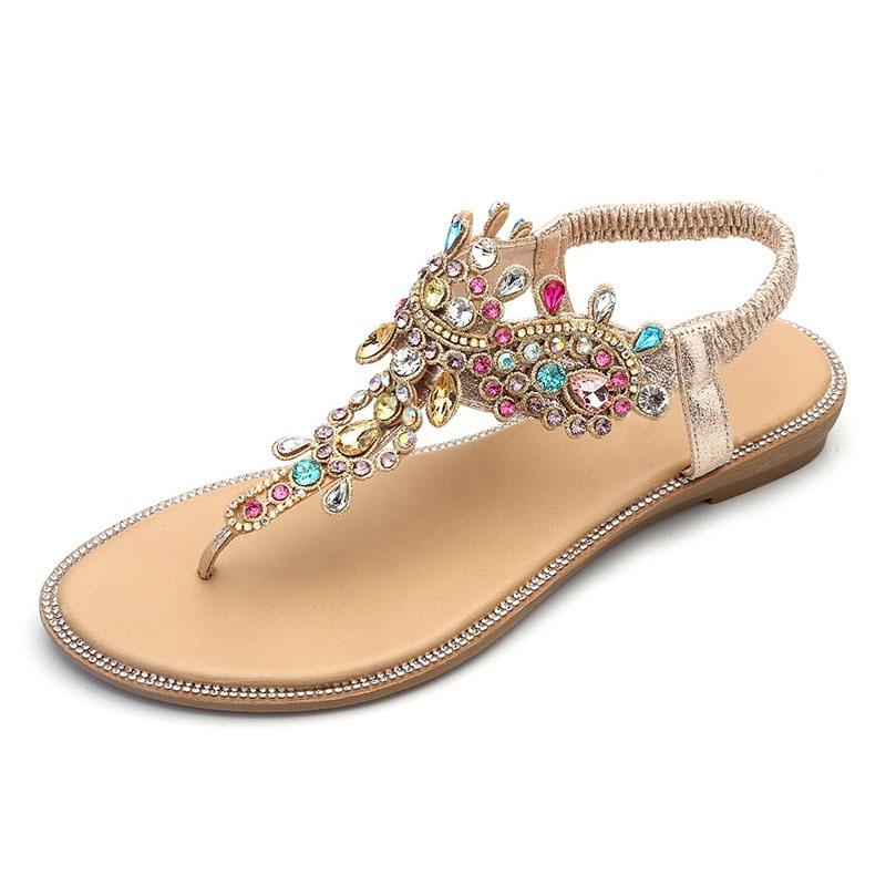 Ericdress Rhinestone Thong Elastic Band Women's Flat Sandals
