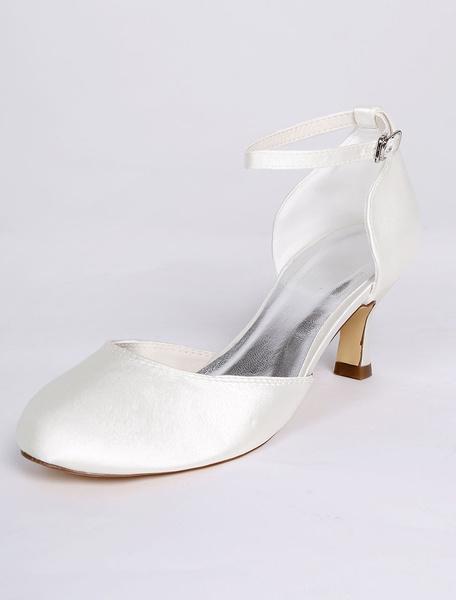 Milanoo Ivory Wedding Shoes 2020 Satin Ankle Straps Bridal Shoes Vintage Wedding Shoes