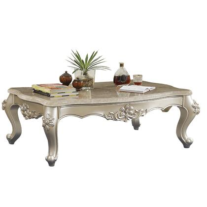 BM186974 Traditional Style Rectangular Wood and Marble Coffee Table