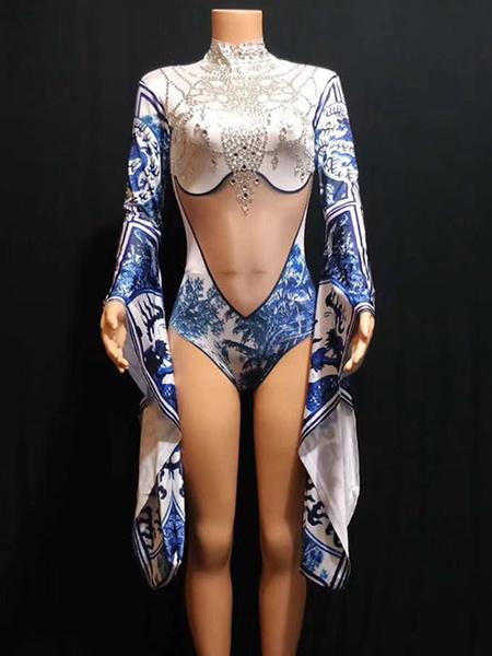 Milanoo Jazz Dance Costume Long Sleeve Printed Women Bodysuits Halloween