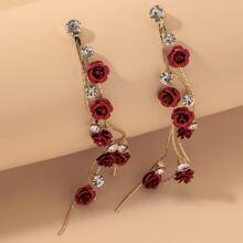 Rose Decor Long Strip Drop Earrings