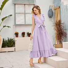Kleid mit Raffung Detail, Schosschensaum und Guertel