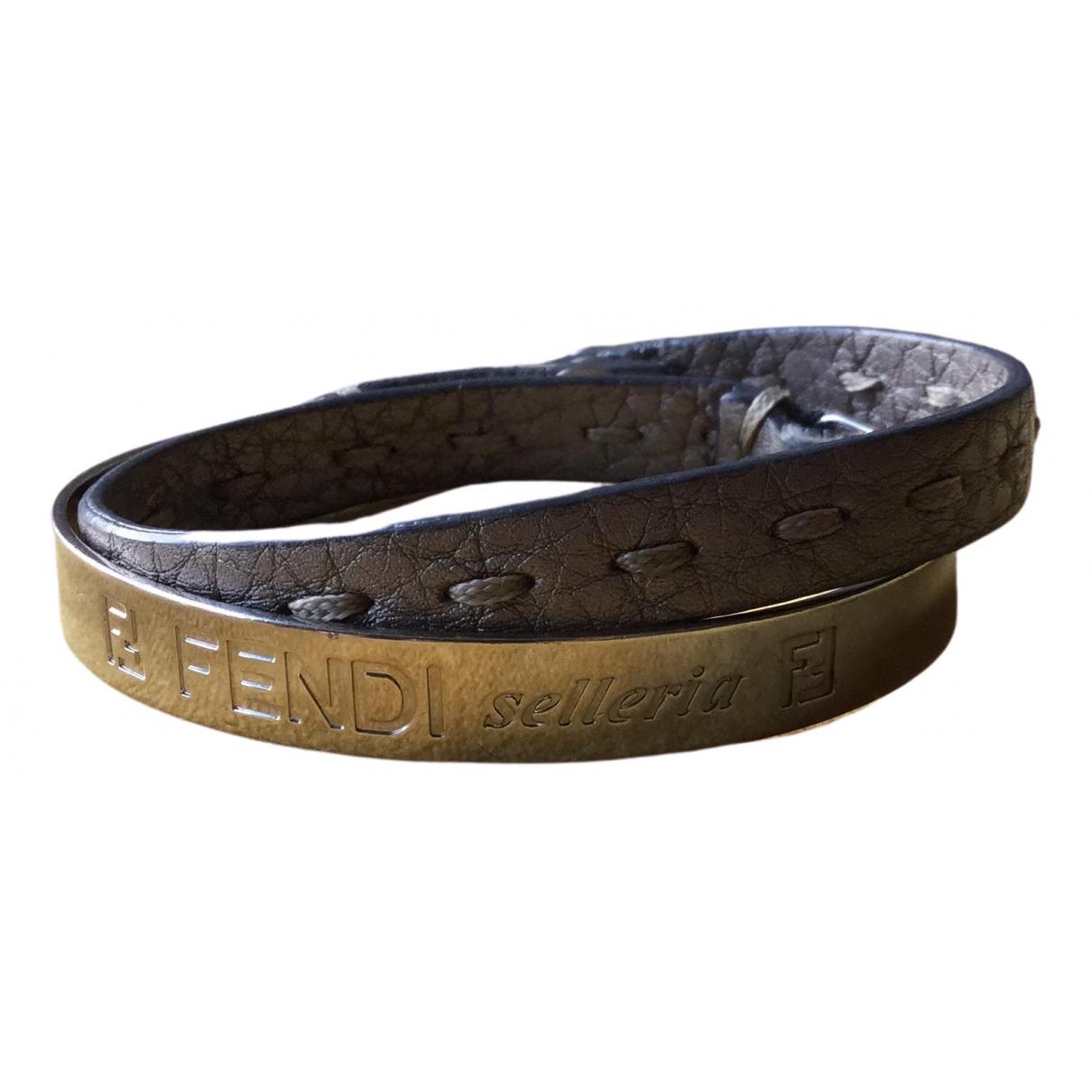 Fendi - Bracelet   pour femme en cuir - argente