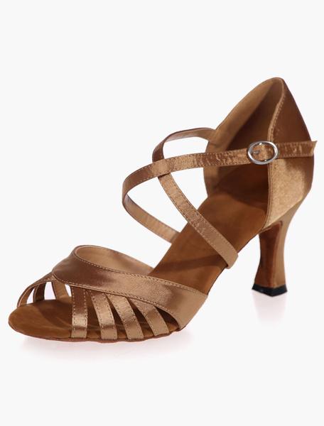 Milanoo Tobillo correa zapatos de salon de saten negro