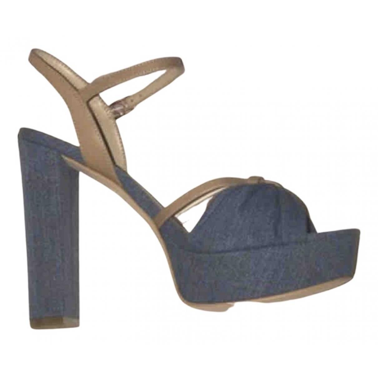 Guess \N Sandalen in  Blau Leinen
