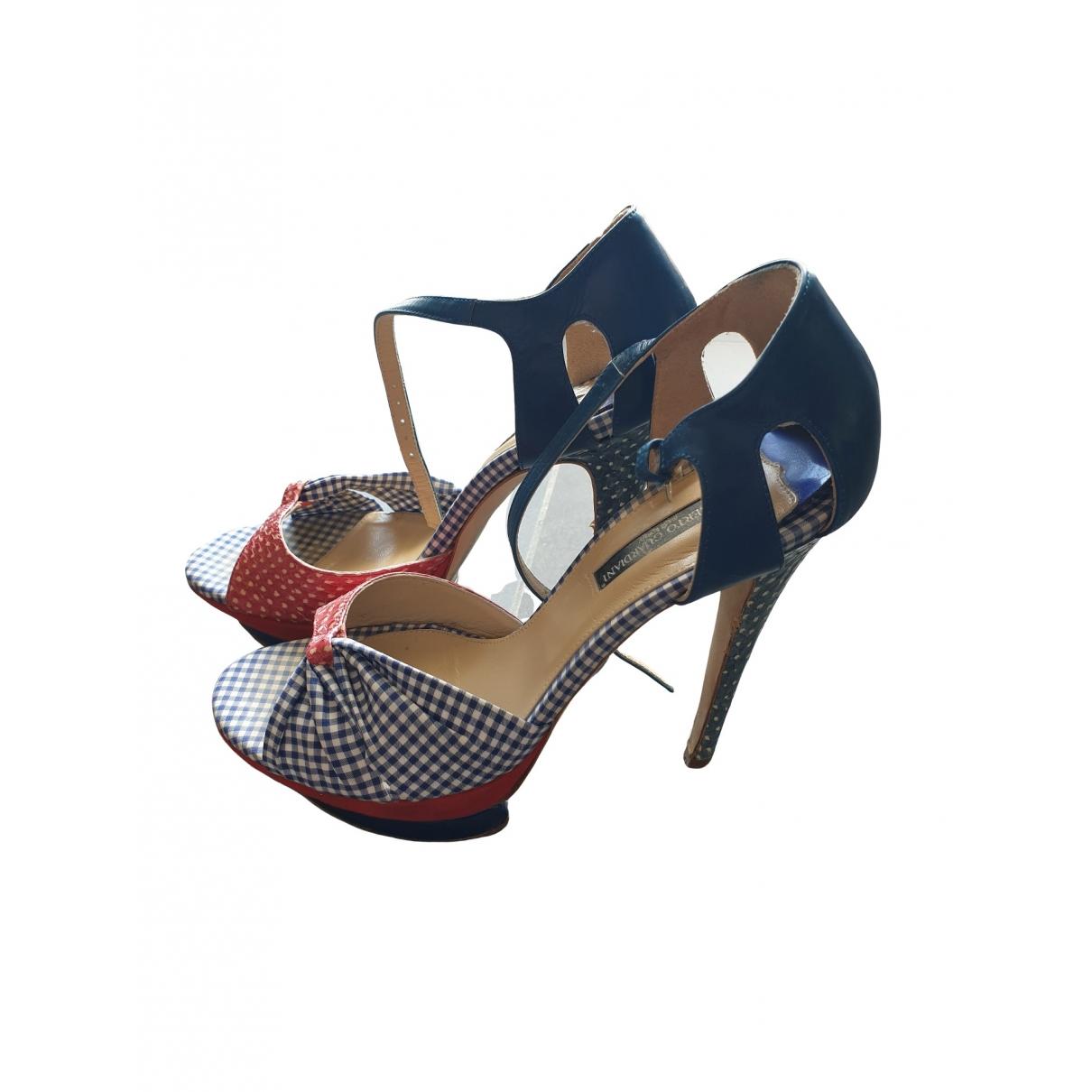Alberto Guardiani - Sandales   pour femme en cuir - bleu