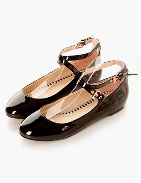 Milanoo Women Ballet Flats Black Round Toe Criss Cross Flat Shoes