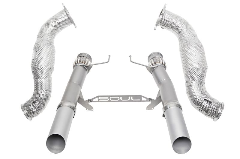 Soul Performance 3.5 Inch Sport Exhaust Package Slash Cut Silver Ceramic Tips Non-OEM McLaren 720S 17-20