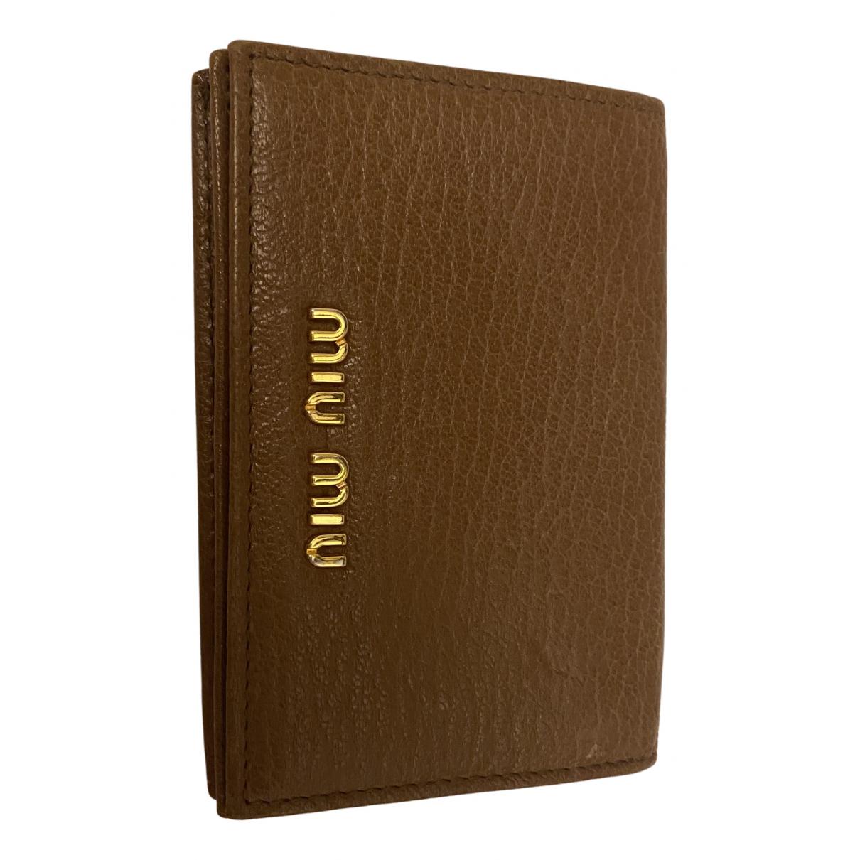 Miu Miu - Portefeuille   pour femme en cuir - beige