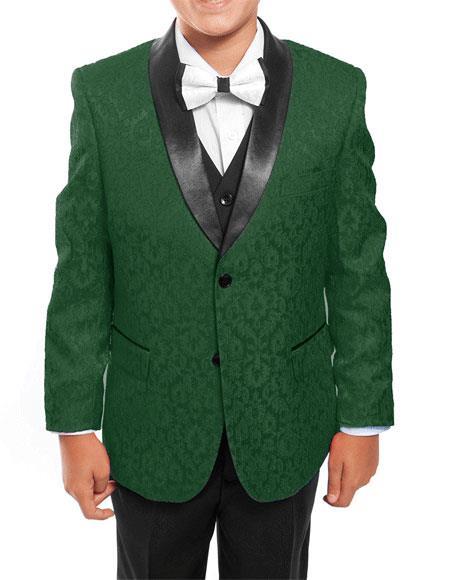 Kids ~ Children ~ Boys ~ Toddler Tuxedo Vested Green/Black Suit