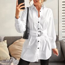 Solid Buckle Belted Longline Blouse