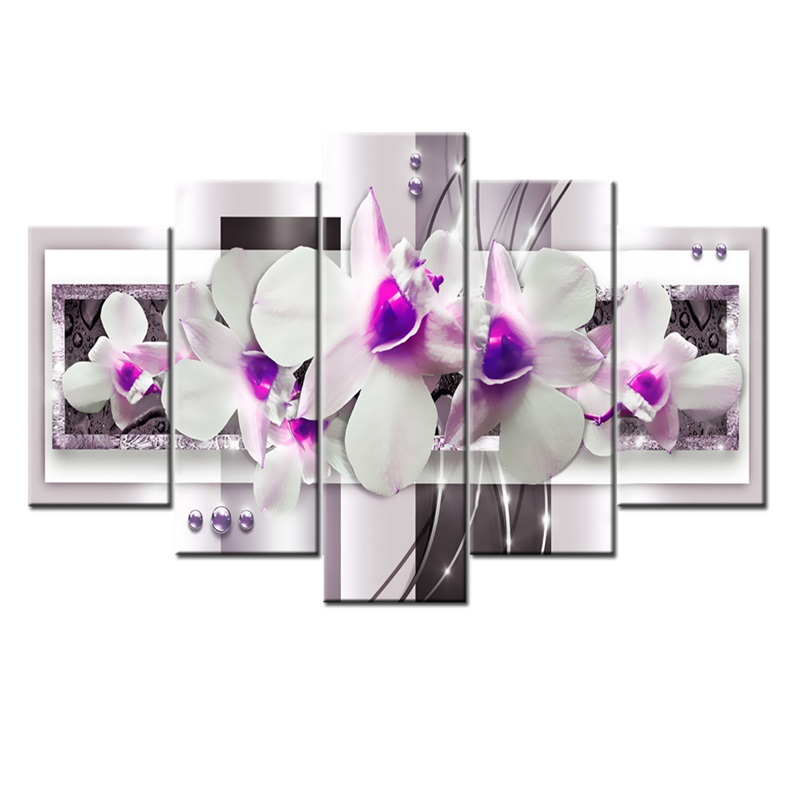 Lilac Orchid Pattern 5 Pieces Hanging Canvas Waterproof Eco-friendly Framed Wall Prints